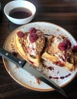 raspberry cheesecake waffles raspberries, jam, vanilla cheesecake frosting and caramelized white chocolate